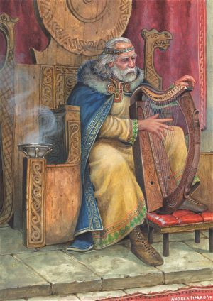 """BRIAN BORU – illustrazione """"Mitologika : Le leggende di Eriu"""" ed. Ailus Editrice 21 x 29,7 cm – acrilico su cartoncino"""