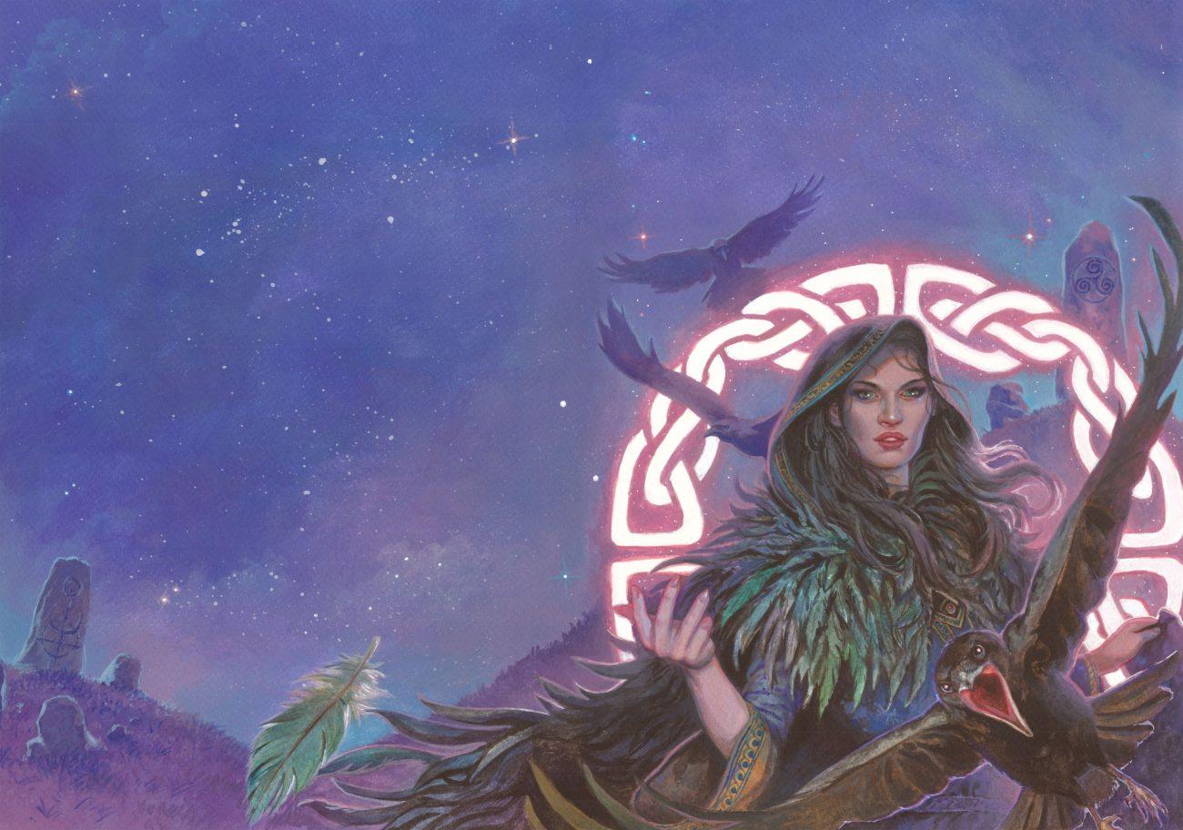 """La Morrigan - Cover per """"Mitologika: Le leggende di Eriu"""" ed. Ailus Editrice 30 x 43 cm - acrilico su cartoncino"""
