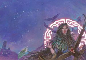 """La Morrigan – Cover per """"Mitologika: Le leggende di Eriu"""" ed. Ailus Editrice 30 x 43 cm – acrilico su cartoncino"""