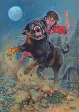 """CU CHULAINN – illustrazione """"Mitologika : Le leggende di Eriu"""" ed. Ailus Editrice 21 x 29,7 cm – acrilico su cartoncino"""
