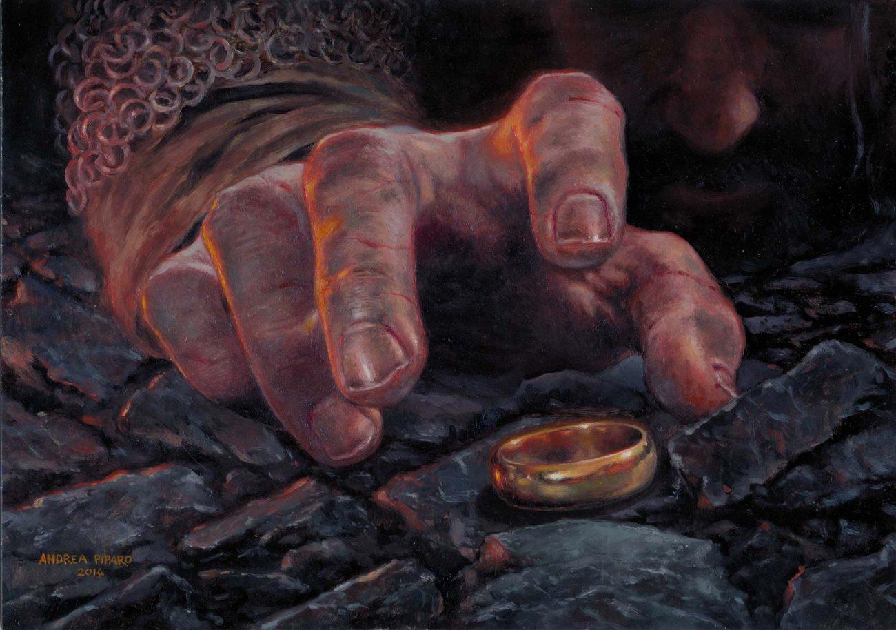IL FLAGELLO DI ISILDUR olio su cartoncino liscio 21 x 29,7 cm