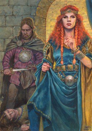 """MAEVE – illustrazione """"Mitologika : Le leggende di Eriu"""" ed. Ailus Editrice 21 x 29,7 cm – acrilico su cartoncino"""