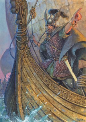 """NEMED AVVISTA LA TORRE – illustrazione """"Mitologika : Le leggende di Eriu"""" ed. Ailus Editrice 21 x 29,7 cm – acrilico su cartoncino"""