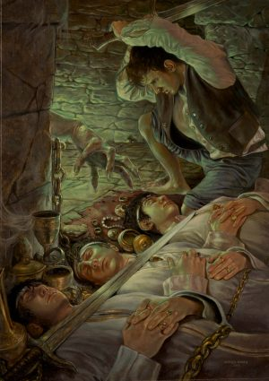 LO SPETTRO DEI TUMULI olio su tavola 43 x 63 cm