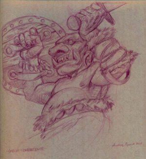 GOBLIN AGGUERRITO matita colorata su carta tonale grigia 23 x 30,5 cm