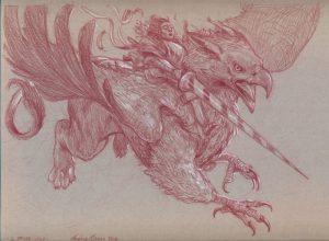 IL PRIMO VOLO sanguigna e matita bianca su carta tonale grigia 23 x 30,5 cm