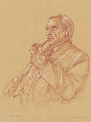 J.R.R.TOLKIEN dono all' associazione romana studi Tolkieniani – ArsT  sanguigna e matita bianca su carta da spolvero 35 x 50 cm