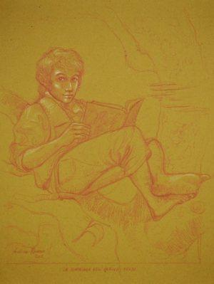 FRODO BAGGINS sanguigna e matita bianca su carta da spolvero 30 x 40 cm