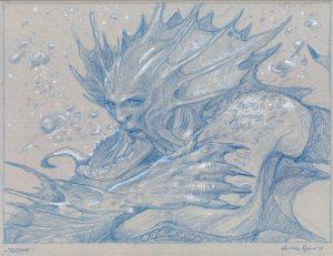 TRITONE matita blu e bianca su carta tonale grigia 23 x 30,5 cm