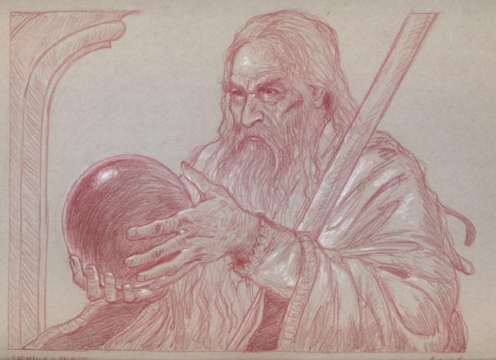 SARUMAN E IL PALANTIR sanguigna e matita bianca su carta tonale grigia 23 x 30,5 cm
