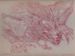 LUPO MANNARO – sanguigna e matita bianca su carta tonale grigia 23 x 30, 5 cm