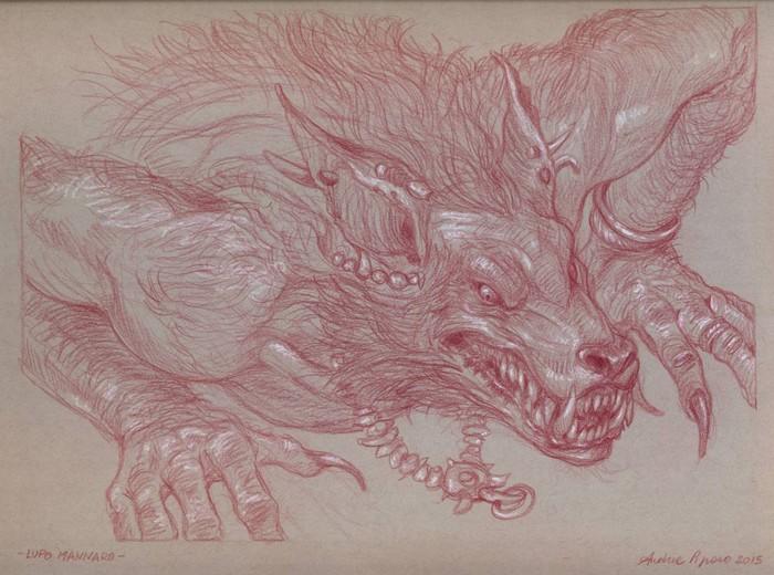 LUPO MANNARO - sanguigna e matita bianca su carta tonale grigia 23 x 30, 5 cm