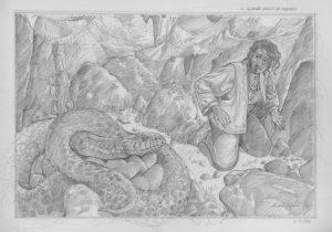 IL SECONDO VIAGGIO DI SINDBAD – LA TANA DEL SERPENTE – LE MILLE E UNA NOTTE – grafite su carta 30 x 42 cm