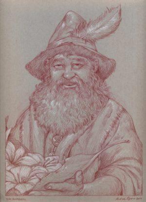 Tom Bombadil – sanguigna e matita bianca su carta tonale grigia 23 x 30 cm