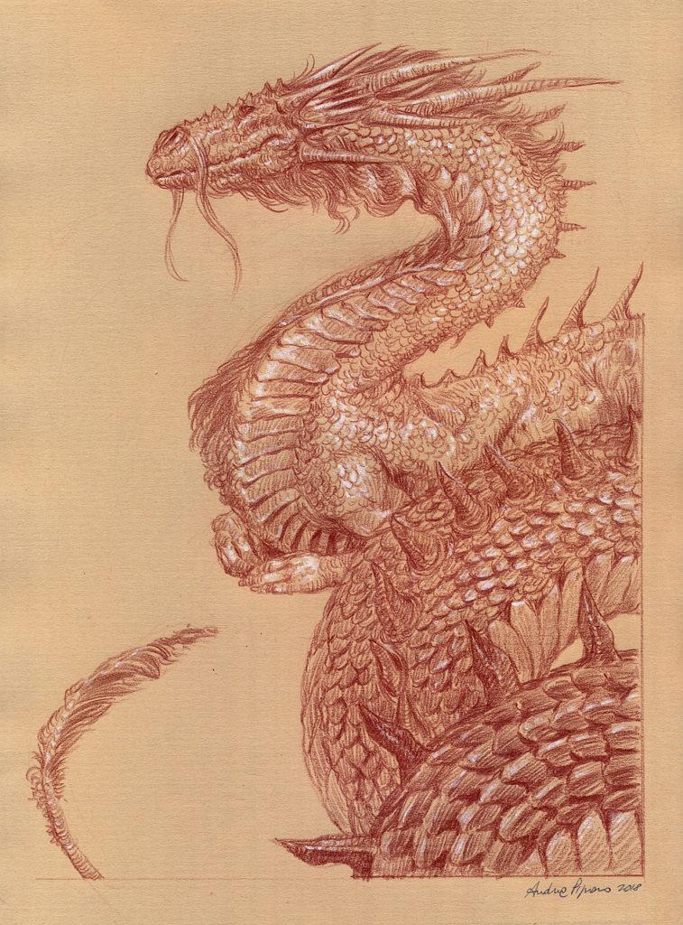 disegno drago fantasy con tecnica sanguigna
