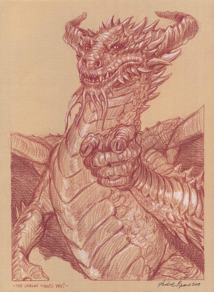 tecnica sanguigna disegno drago
