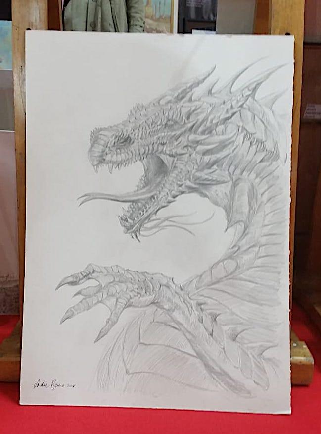 disegno drago fantasy lucca comics 2018