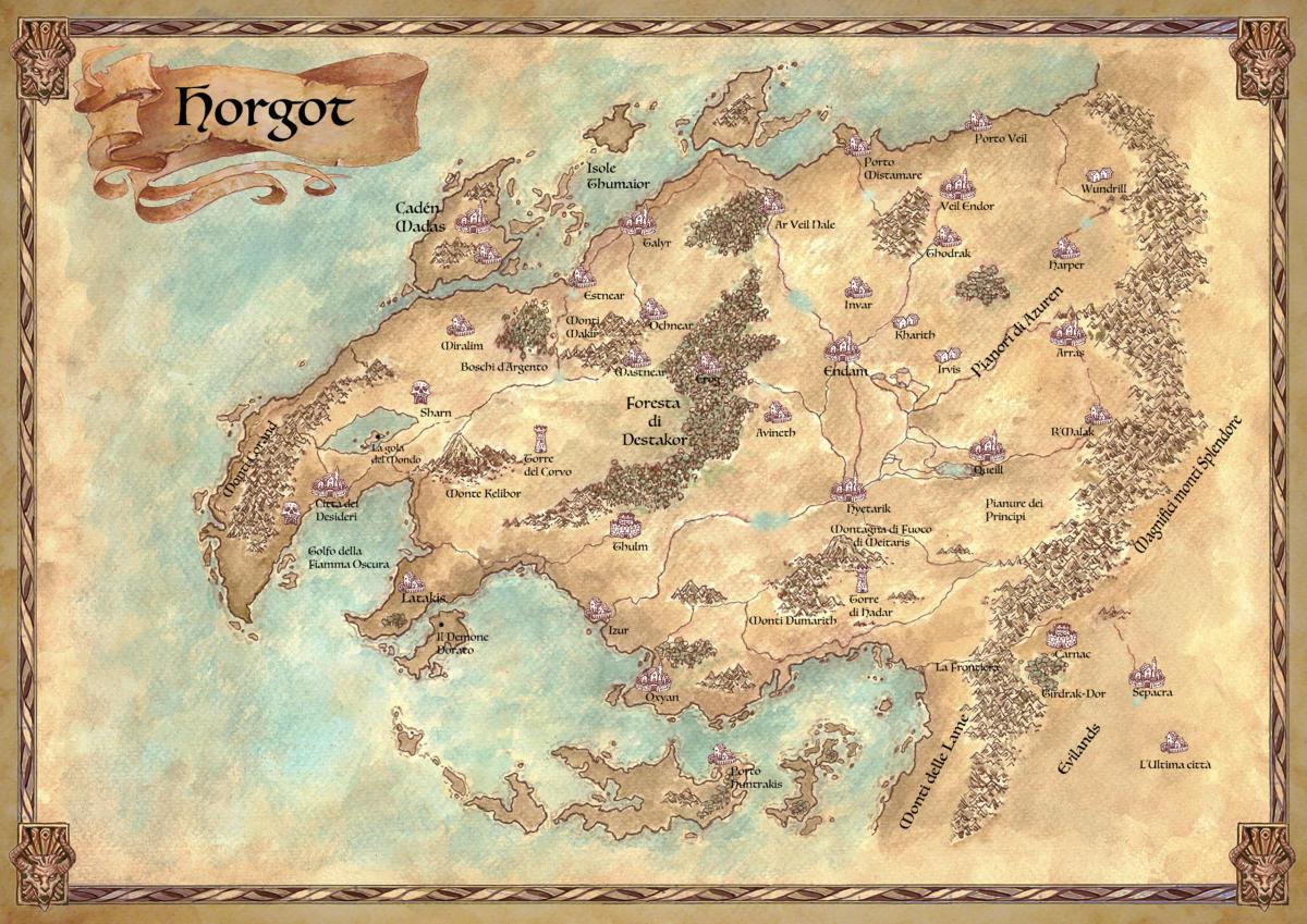 "Mappa delle terre di Horgot- ""Selestar Saga"" di Frederick Goodyear"