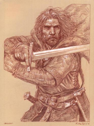Aragorn - disegno per lo sketchbook: Popoli di Arda - Eterea Edizioni