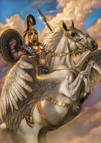 """Bellerofonte- illustrazione """"Mitologika:  Le leggende dell' Olimpo"""" ed. Casa Ailus"""
