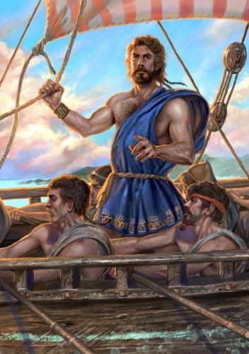 """Ulisse- illustrazione """"Mitologika:  Le leggende dell' Olimpo"""" ed. Casa Ailus"""