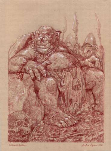 Il grande goblin - disegno per lo sketchbook: Popoli di Arda - Eterea Edizioni