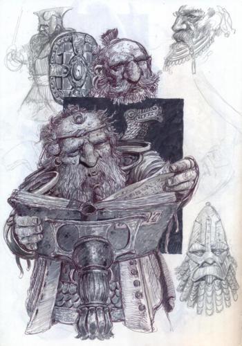 Nano studioso - disegno per lo sketchbook: Popoli di Arda - Eterea Edizioni