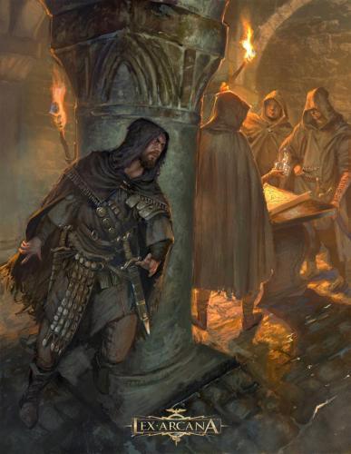 Riunione di Cospiratori - Illustrazione realizzata per Lex Arcana rpg - Editore: Quality Games
